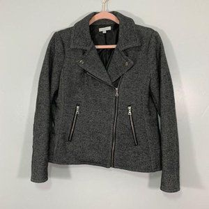 Downeast Gray Speckled Silver Accent Moto Jacket